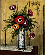 Bernard Buffet: Anemones in a Vase - Painting