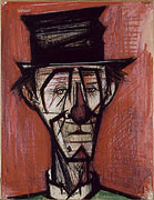 Bernard Buffet: Clown au Chapeau, 1966 - Mixed media