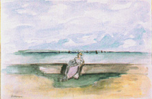 Henri Lebasque: Jeune Fille au Bord de la Mer - Watercolor